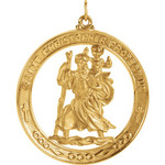 14kt Yellow Gold 38.75mm St. Christopher Medal thumbnail 1