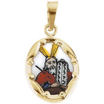 14kt Yellow Gold 13x10mm Moses Hand-Painted Porcelain Medal 0.28 Grams