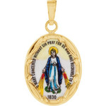 14kt Yellow Gold 17x13.5mm Miraculous Hand-Painted Porcelain Medal thumbnail 1