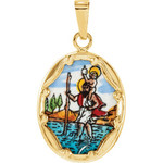 14kt Yellow Gold 17x13.5mm St. Christopher Hand-Painted Porcelain Medal