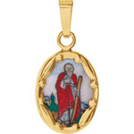 14kt Yellow Gold 13x10mm St. Jude Hand-Painted Porcelain Medal