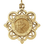14kt Yellow Gold 28.5x26mm St. Christopher Medal