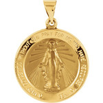 14kt Yellow Gold 22.25mm Hollow Round Miraculous Medal thumbnail 1