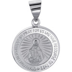 14kt White Gold 15mm Hollow Round Miraculous Medal