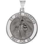 14kt White Gold 18.25mm Hollow Round St. Jude Medal