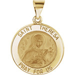 14kt Yellow Gold 18.5mm Round Hollow St. Theresa Medal thumbnail 1