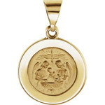 14kt Yellow Gold 14.75mm Round Hollow Baptismal Medal thumbnail 1