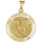 14kt Yellow Gold 21.75mm Round Hollow Guardian Angel Medal thumbnail 1
