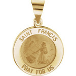 14kt Yellow Gold 15mm Round Hollow St. Francis Medal thumbnail 1