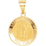 14kt Yellow Gold 15mm Round Hollow Our Lady of Guadalupe Medal thumbnail 1