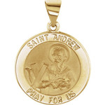 14kt Yellow Gold 18.5mm Round Hollow St. Andrew Medal