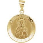 14kt Yellow Gold 18.5mm Round St. Nicholas Hollow Medal