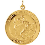 14kt Yellow Gold 23mm St. Christopher Medal