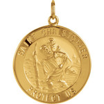 14Kt Yellow 25mm St. Christopher Medal