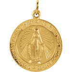 14kt Yellow 18mm Miraculous Medal