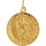 14kt Yellow 18mm St. Christopher Medal