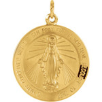14kt Yellow 21.75mm Miraculous Medal