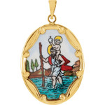 14kt Yellow 25x19.5mm St. Christopher Hand-Painted Porcelain Medal