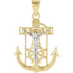 14kt Yellow/White Two Tone Mariners Cross 21.50X18 thumbnail 1