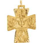 14kt Yellow Gold 28x23.5mm Four-Way Cross Medal