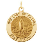 14kt Yellow 15mm Round Our Lady of Fatima Medal