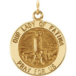 14kt Yellow 22mm Round Our Lady of Fatima Medal