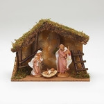 "Fontanini 3pc Nativity with Stable 7.5"" scale"