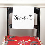 "Black and White ""Blessed"" Flour Sack Dish Towel"