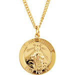 """24kt Gold Plated 22mm Round St. Jude Medal 24"""" Necklace"""