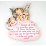 Guardian Angel Watching Over Baby Girl Plaque