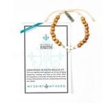 Faith Wooden Bracelet with White Howlite Cross
