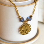 Blue Our Lady of Fatima Vintage Necklace