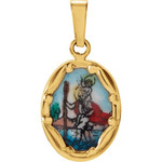 14kt Yellow Gold 13x10mm St. Christopher Hand-Painted Porcelain Medal