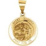 14kt Yellow Gold 14.75mm Round Hollow St. Michael Medal