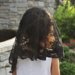 Black Lace Chapel Veil - Small thumbnail 2