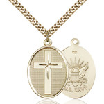 Cross Navy Pendant, Bliss, 14Kt Gold-Filled