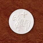 """1-3/8"""" White Communion Hosts with Lamb, Container of 750"""