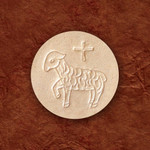 """1-3/8"""" Whole Wheat Communion Hosts with Lamb, Container of 750"""
