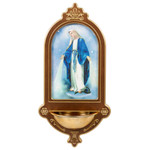 """Dark Wood Our Lady of Grace Holy Water Font - 15"""""""
