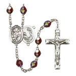 St. Cecilia / Marching Band Red January Lock Link Aurora Borealis Rosary 7mm
