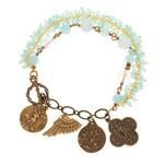 Archangel Swarovski & Bronze Charm Bracelet