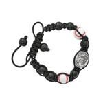 Black St. Sebastian Baseball Corded Bracelet