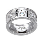 Ave Maria Sterling Silver & CZ Rosary Ring