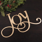 """Gold Holiday Wood Cut Outs """"Joy"""""""
