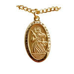 Gold/Sterling Silver St. Christopher Medal on 24 Inch Chain thumbnail 1