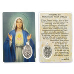Immaculate Heart of Mary Prayer Card with Medal thumbnail 1