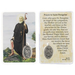 Laminated St. Peregrine Prayer Card with Medal