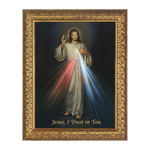 Divine Mercy on Canvas w/ Ornate Gold Frame