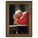 John Paul II Kneeling w/ Gold Frame