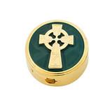 Celtic Cross Green Enameled Pyx
